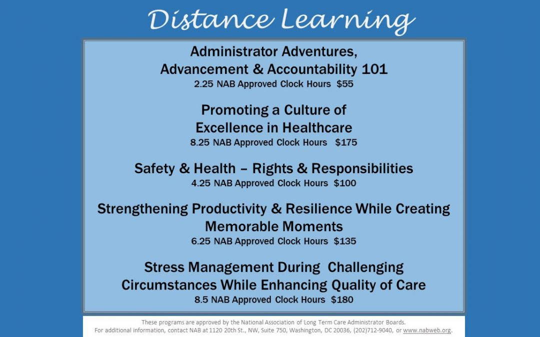 Distance Learning ~ NAB Approved Continuing Education Opportunities